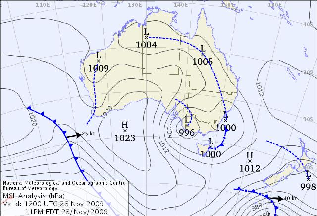 Synoptic Chart showing tropo - Courtesy Bureau of Meteorology © Commonwealth of Australia 2008