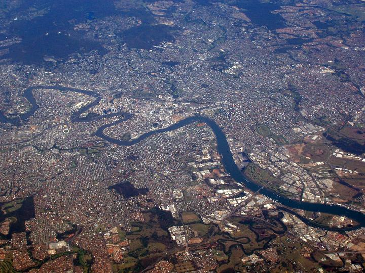 Aerial view of the river city